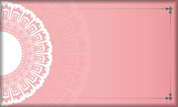 Fond rose avec des ornements blancs vintage et un espace pour votre texte