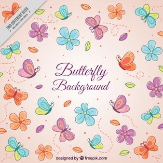 Fond rose avec des papillons et des fleurs