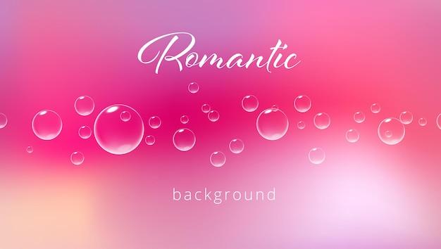 Fond rose romantique avec des bulles pétillantes illustration réaliste de vecteur de modèle de carte de saint-valentin