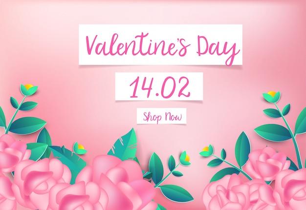 Fond rose rose avec carte de voeux d'amour mignon.