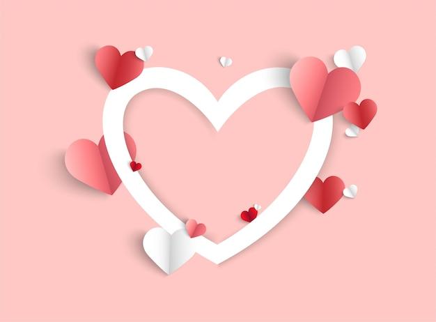 Fond rose saint valentin avec forme de coeur
