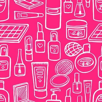 Fond rose sans couture avec une variété de cosmétiques et de produits pour les soins du corps. illustration dessinée à la main