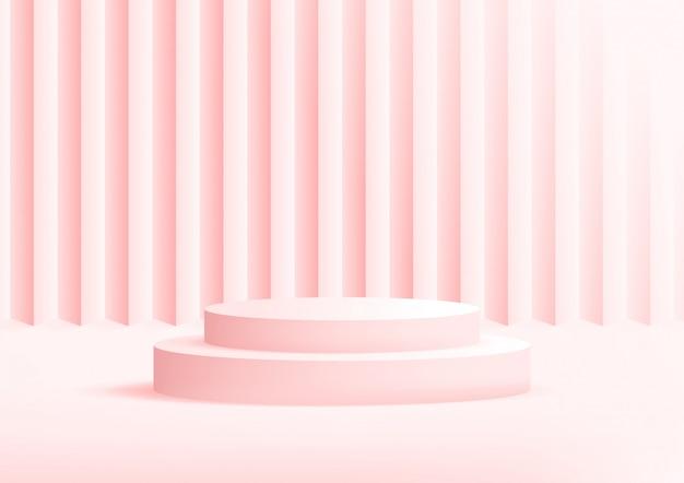 Fond rose studio podium vide pour l'affichage du produit avec espace de copie.