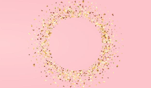 Fond rose de vecteur d'anniversaire de lueur dorée. texture de brillance de noël. papier peint à effet triangle jaune. toile de fond dorée de la poussière.