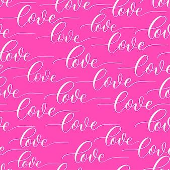 Fond rose avec vecteur d'inscription calligraphie amour.