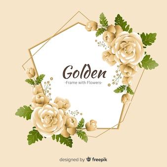 Fond de roses dorées de printemps