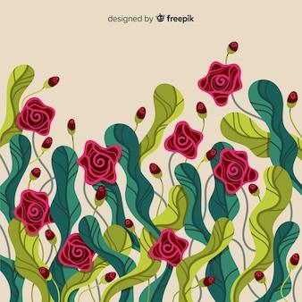Fond de roses et de feuilles dessinées à la main