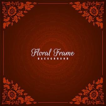 Fond rouge abstrait cadre floral