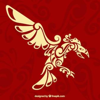Fond rouge avec l'aigle dans un style ethnique