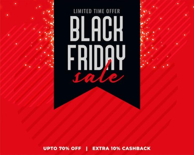 Fond rouge avec bannière de vente vendredi noir ruban noir