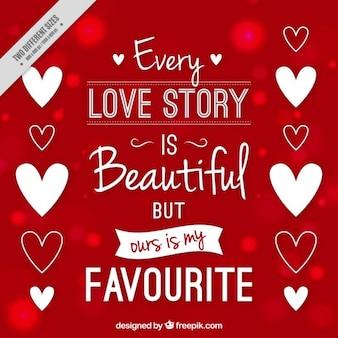 Fond rouge avec un beau message d'amour