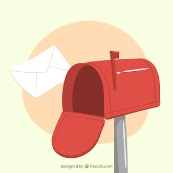 Fond rouge de boîte aux lettres avec enveloppe tirée par la main