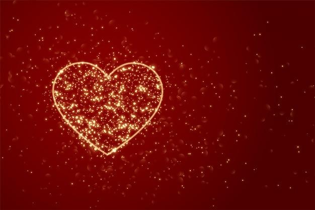 Fond rouge avec coeur fait avec des étincelles
