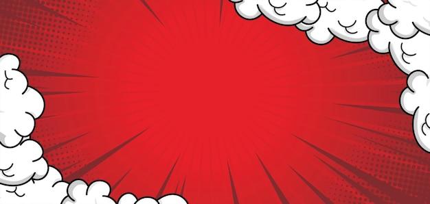 Fond rouge comique avec nuage
