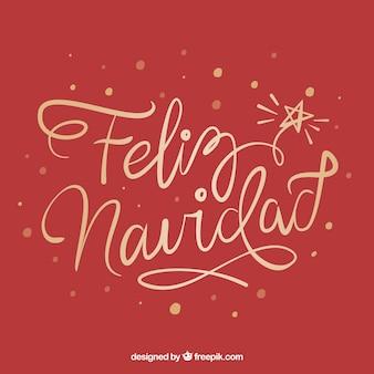 Fond rouge créatif feliz navidad lettrage