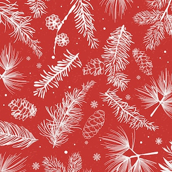 Fond rouge avec décoration d'hiver