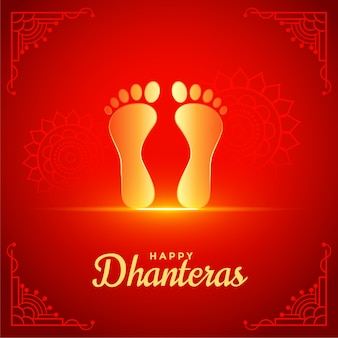 Fond rouge de dhanteras heureux avec empreinte de pieds de dieu doré