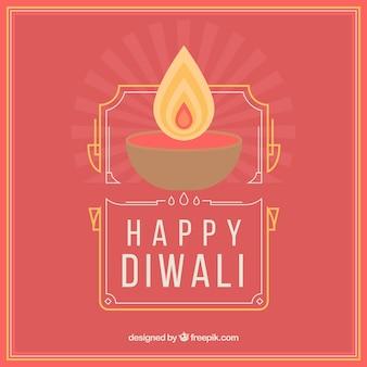 Fond rouge diwali avec bougie