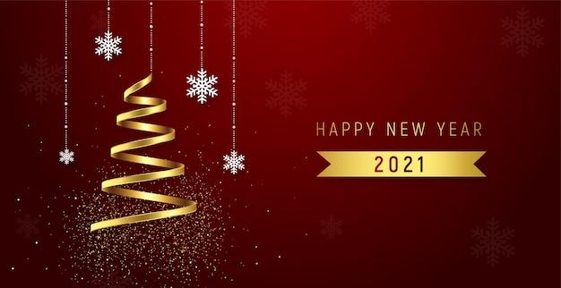 Fond rouge du réveillon du nouvel an avec des rubans dorés.