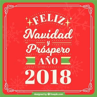 Fond rouge feliz navidad lettrage