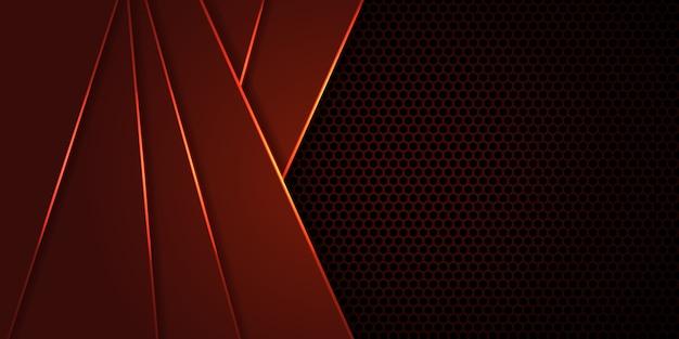 Fond rouge foncé en fibre de carbone hexagonale avec des lignes et des reflets lumineux rouges.