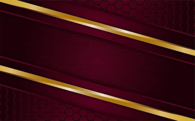 Un fond rouge foncé luxueux se combine avec des lignes dorées éclatantes. fond texturé de calque de chevauchement