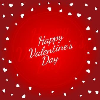 Fond rouge de jour de valentines avec des coeurs blancs