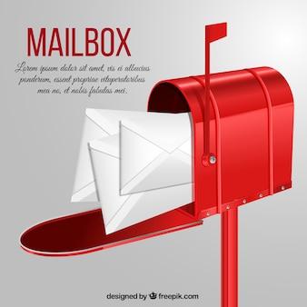 Fond rouge letterbox avec des enveloppes