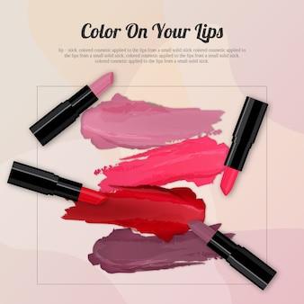 Fond de rouge à lèvres emballage et échantillons de frottis de rouge à lèvres
