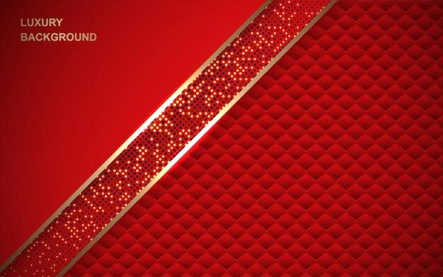Fond rouge de luxe avec une décoration de paillettes d'or