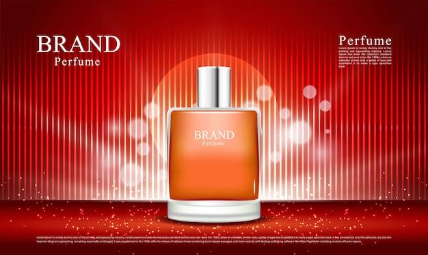 Fond rouge de luxe et éclairage pour le parfum
