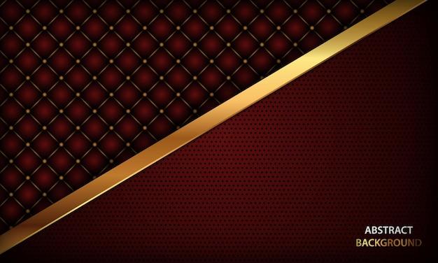 Fond rouge de luxe avec texture et lignes dorées