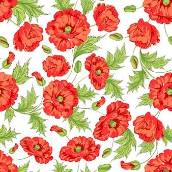 Fond rouge de motifs de fleurs