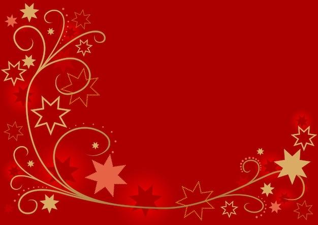 Fond rouge de noël avec des lignes et des spirales incurvées d'or et des étoiles décoratives
