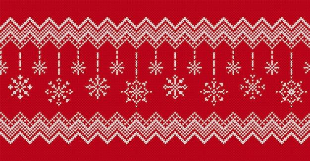 Fond rouge de noël. tricoter le modèle sans couture. illustration vectorielle.