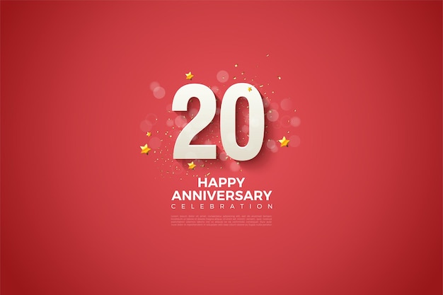 Fond rouge et numéros en relief et ombrés pour le 20e anivversaire