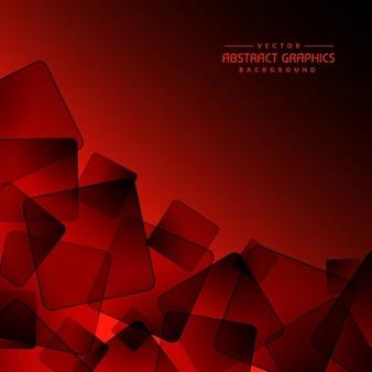Fond rouge avec résumé formes carrées noires