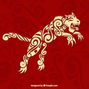 Fond rouge avec tigre ethnique ornementale