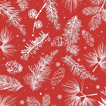 Fond rouge avec le vecteur de décoration d'hiver