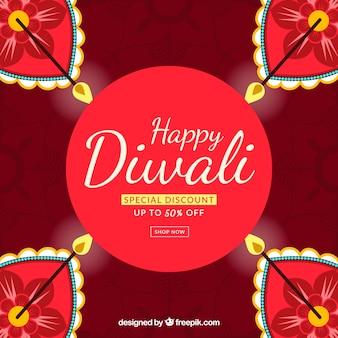 Fond rougeâtre avec des bougies de diwali