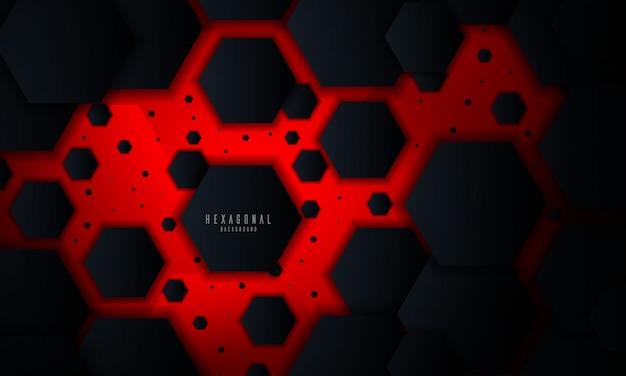 Fond rougeoyant abstrait hexagonal rouge