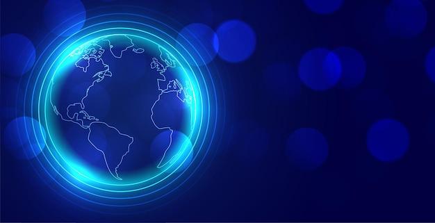 Fond rougeoyant de la terre mondiale numérique