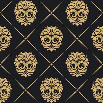 Fond royal baroque avec des éléments vintage dorés.