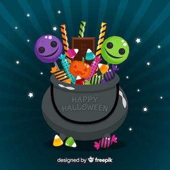 Fond de sac créatif de bonbons d'halloween