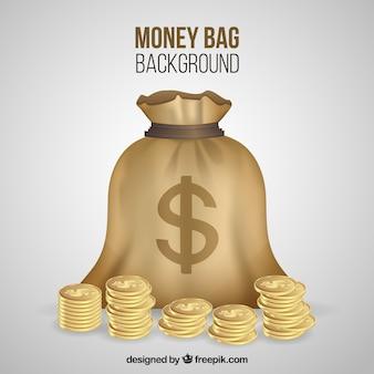 Fond sac avec des pièces dorées