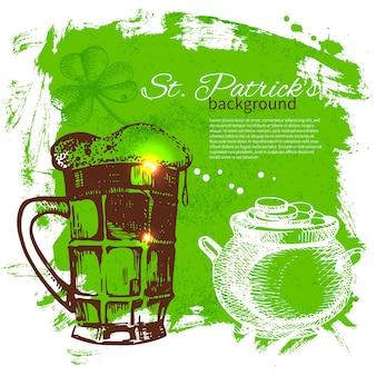 Fond de la saint-patrick avec des illustrations de croquis dessinés à la main