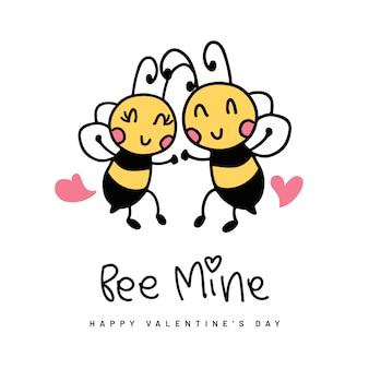 Fond saint-valentin avec des abeilles mignonnes