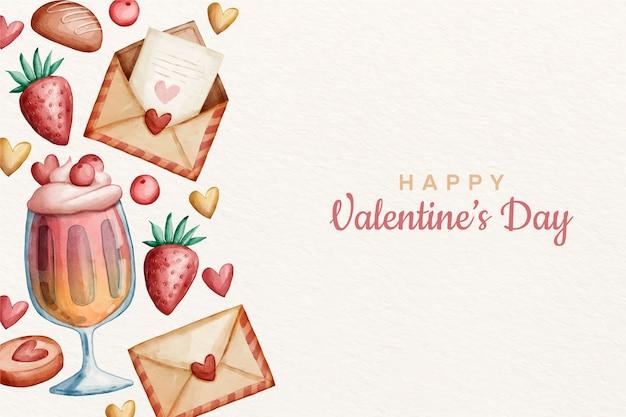 Fond de saint valentin à l'aquarelle