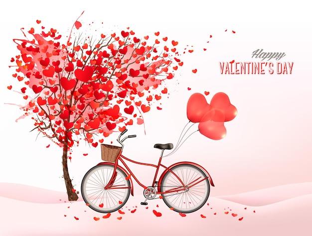 Fond de saint-valentin avec un arbre en forme de coeur et un vélo avec des ballons en forme de coeur.