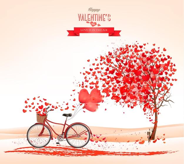 Fond de la saint-valentin avec un arbre en forme de coeur et un vélo.
